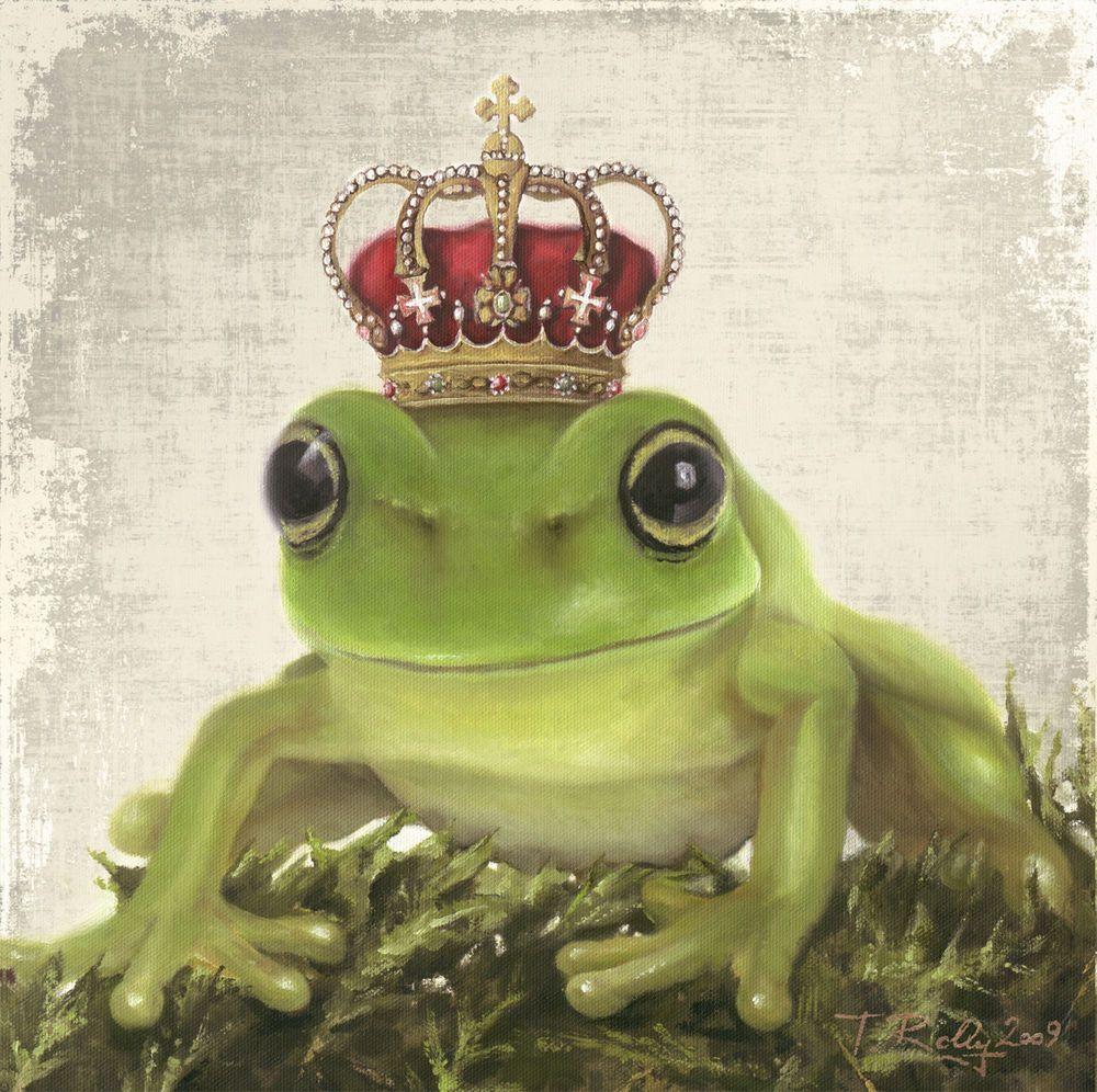 bild gemälde frosch könig grau grün shabby chic mit krone