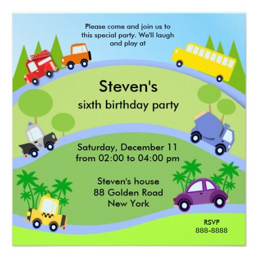 Kids birthday invitation 046: Cars