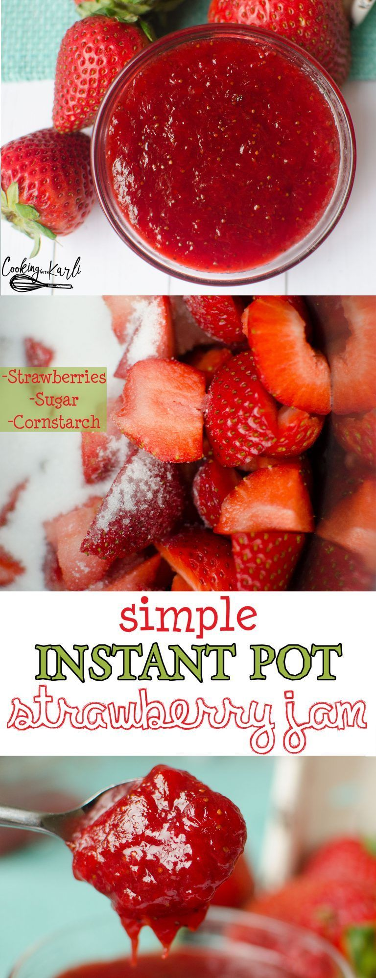 Pot Strawberry Jam 2.0 is made of just three ingredients: Strawberries, sugar and cornstarch. The strawberry flavor shines bright in this jam that you'll be eating by the spoonful!