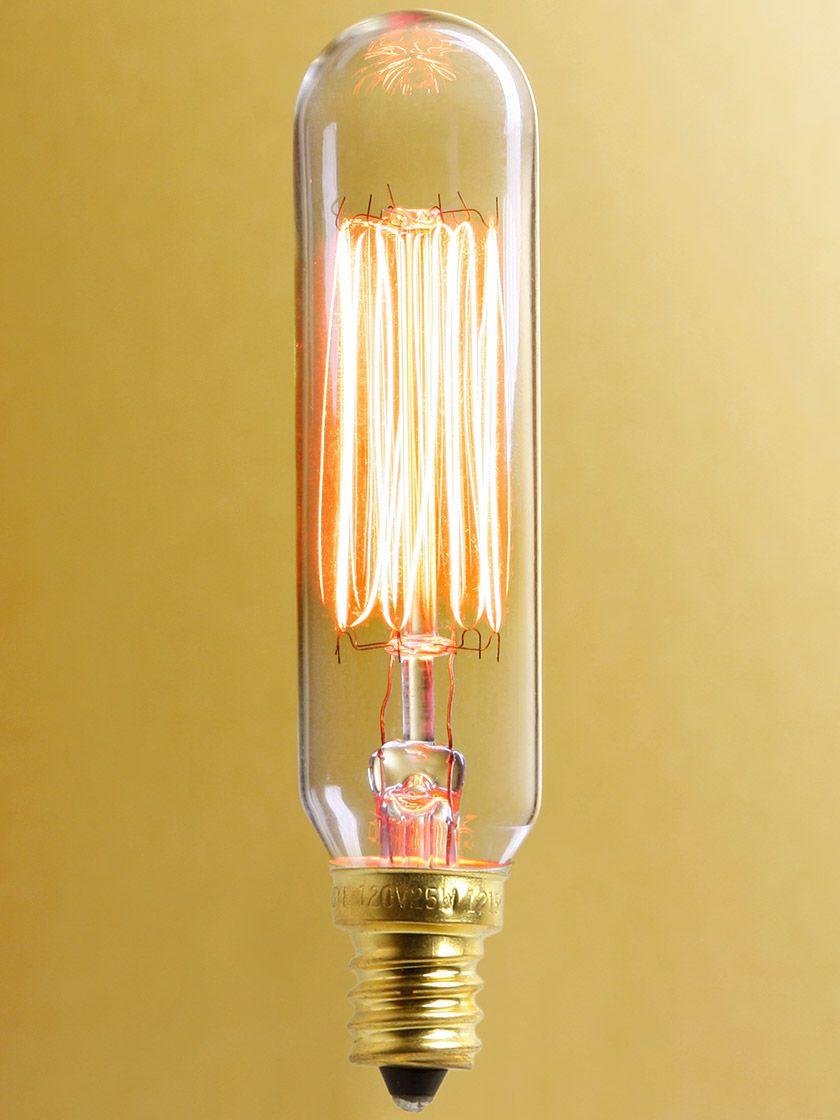 Squirrel Cage T6 Tube Candelabra Base Light Bulb 25 Watt Antique Light Bulbs Vintage Light Bulbs Bulb