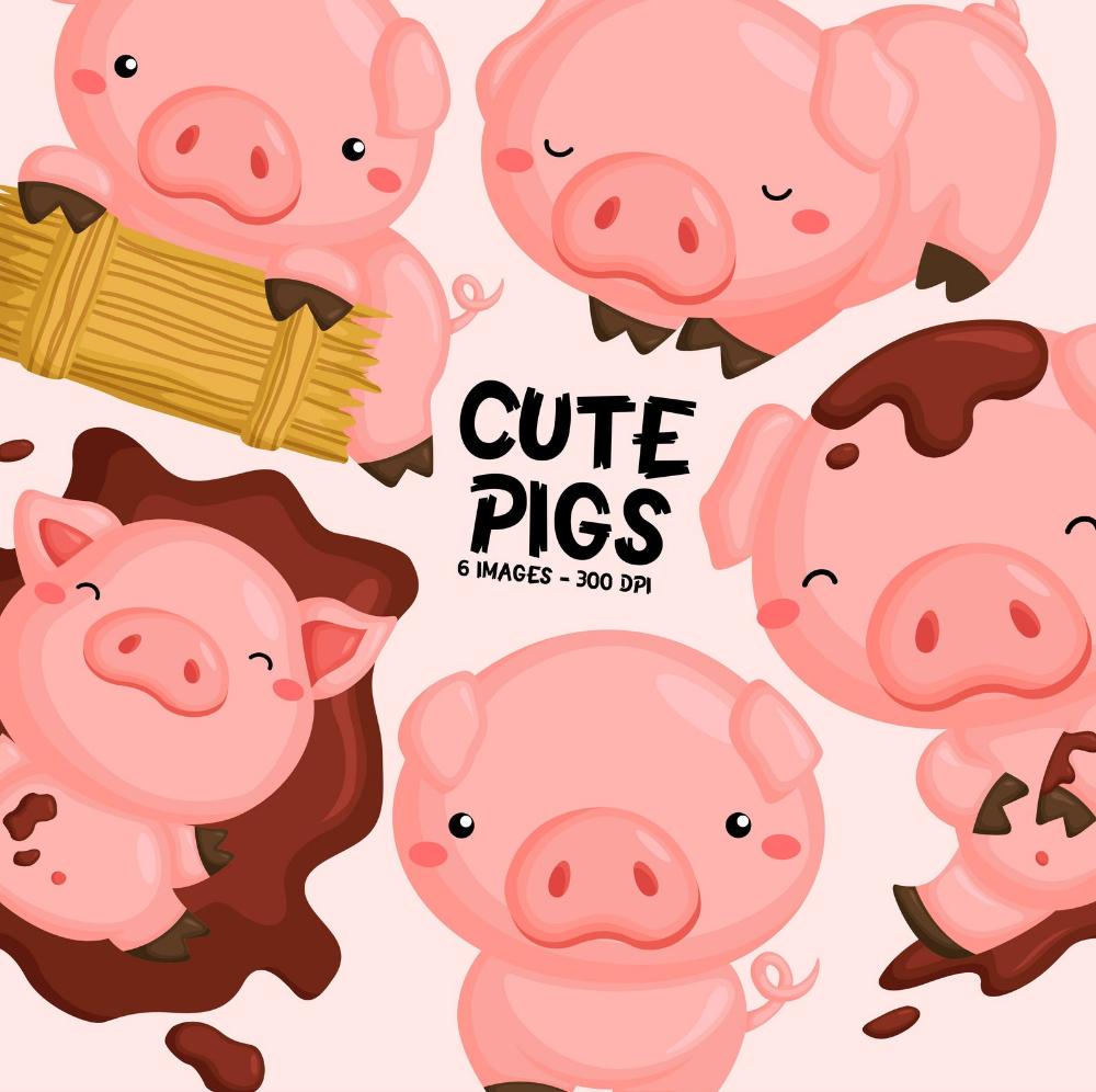 Cute Pig Clipart Cute Animal Clip Art Farm Animal Free Etsy Cute Pigs Pig Clipart Animal Clipart