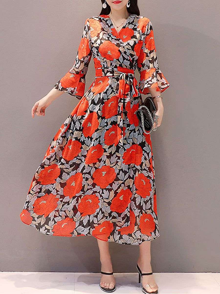 V neck belt floral printed bell sleeve maxi dress in cheap