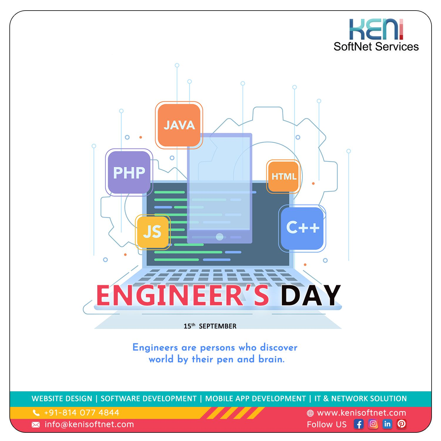 Happy Engineer's Day contact us +918140774844 send your