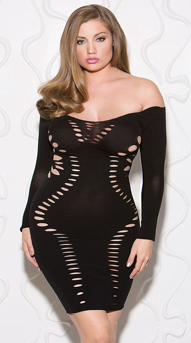 Plus Size Eat Your Heart Out Black Chemise Plus Size Strappy Black