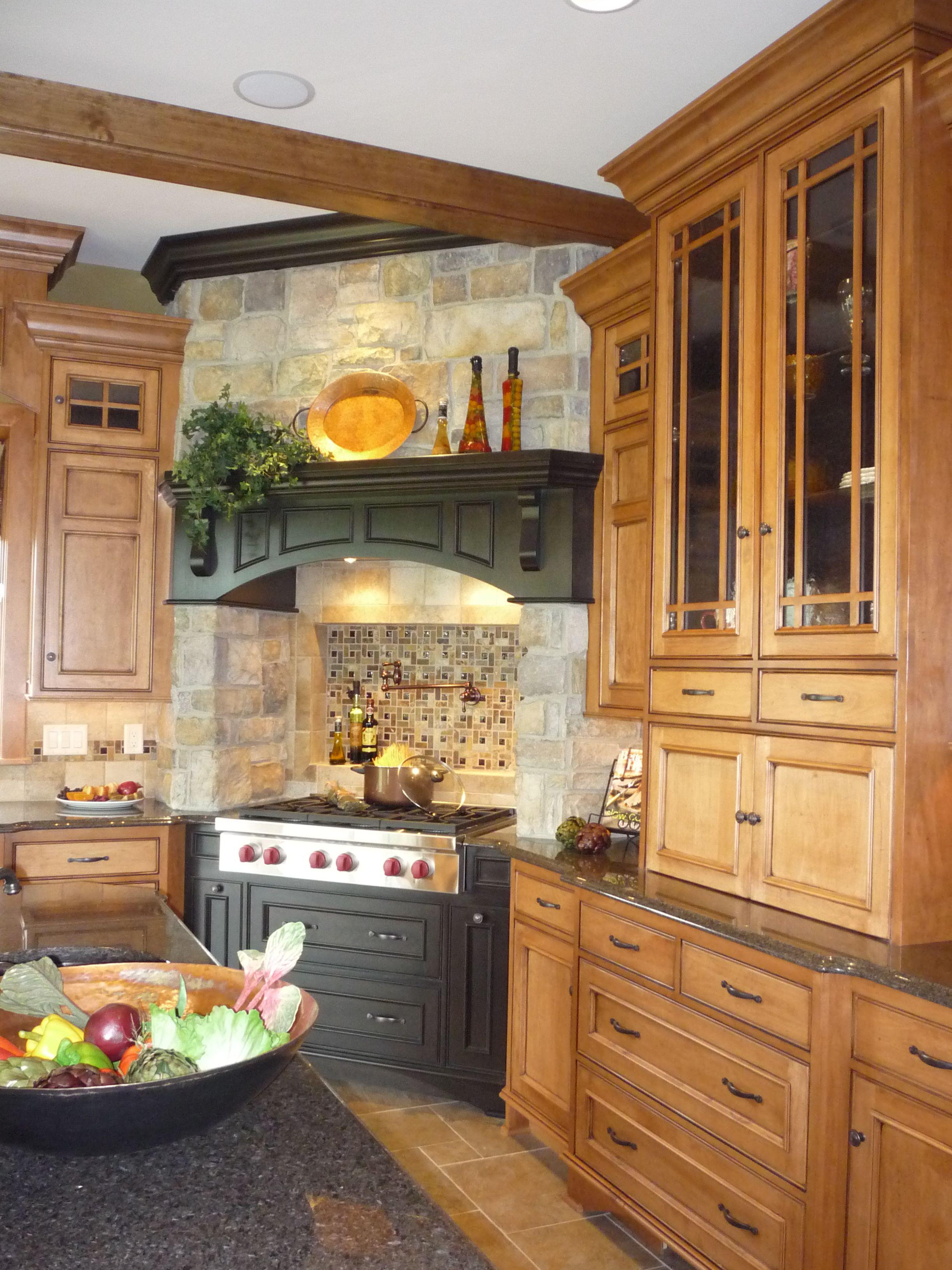 Stone, black painted wood, warm wood tones on