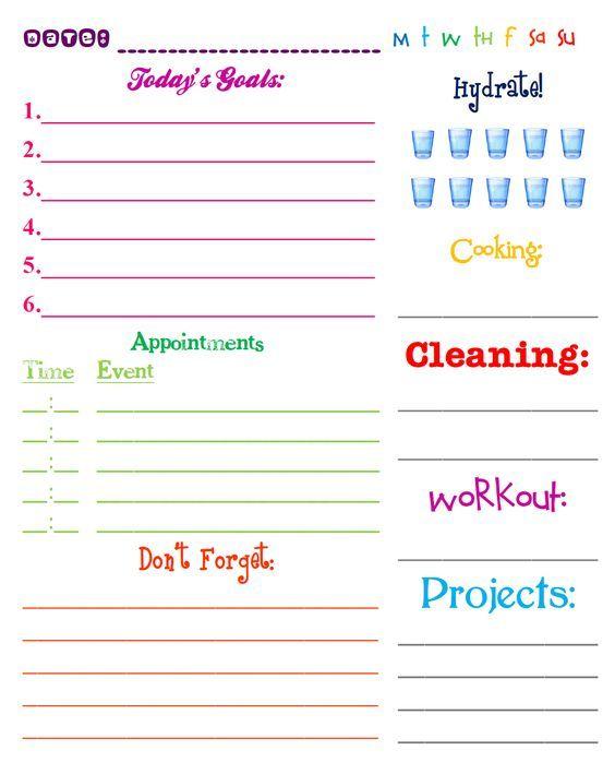 Lizzy and Jane\u0027s Free Printable 2013 Daily Planning Page Health