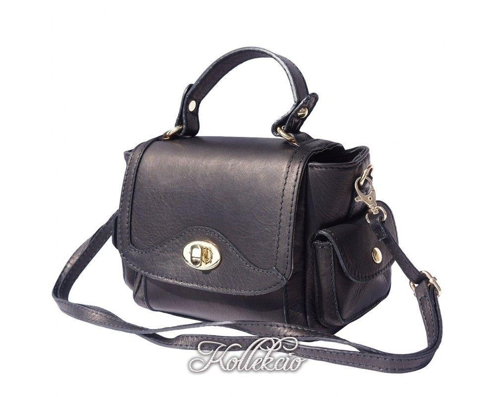 Small Italian Genuine Leather Purple Handbag With Shoulder Strap