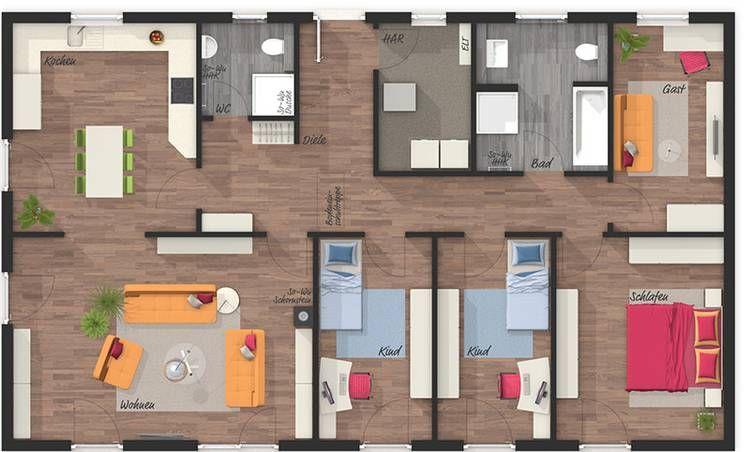 Der Bungalow 131 Style Grundriss Erdgeschoss Ihr