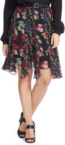 Ralph Lauren Woman Floral-Print Georgette Skirt