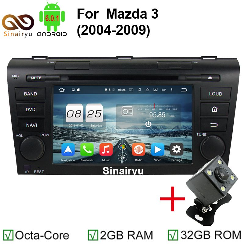 Sinairyu 7 Android 6 0 Double Din Car Stereo Dvd Player Navigation For Mazda 3 Mazda3 2004 2009 With Gps Bluetooth 4g Wifi Tv Car Radio Radio Car Electronics