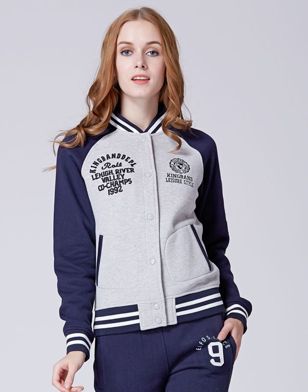 Cheap Womens Spring Letter KB Light Grey Spell Navy Letterman ...