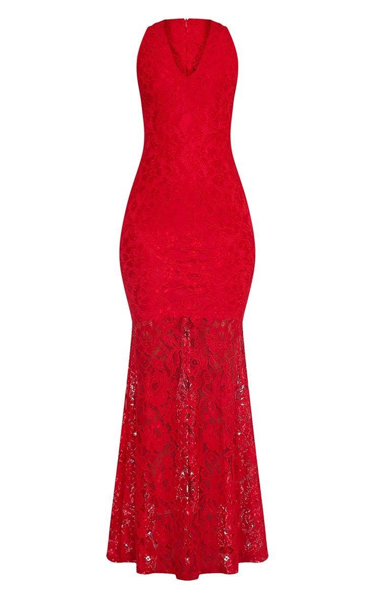 7e90afa2c976 Tarra Red Lace Fishtail Maxi Dress