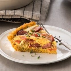 Quiche with Hillshire Farm® Smoked Sausage Cauliflower-Crusted Quiche with Hillshire Farm(R) Smoked Sausage - Cauliflower-Crusted Quiche with Hillshire Farm(R) Smoked Sausage -