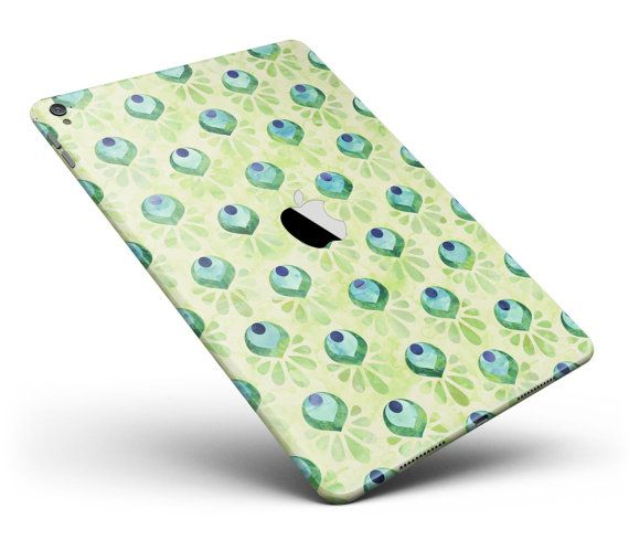 Green Watercolor Peacock Feathers Full Body Skin Decal for