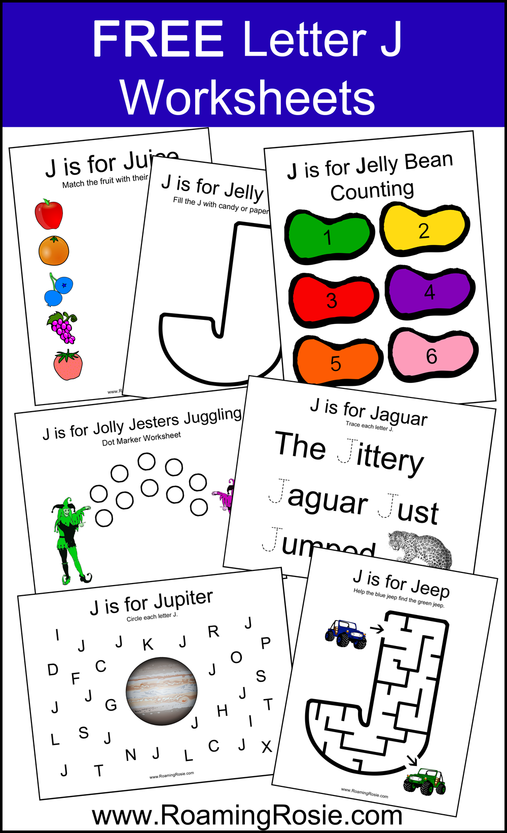 Letter J Alphabet Activities FREE Printable Worksheets from Roaming ...