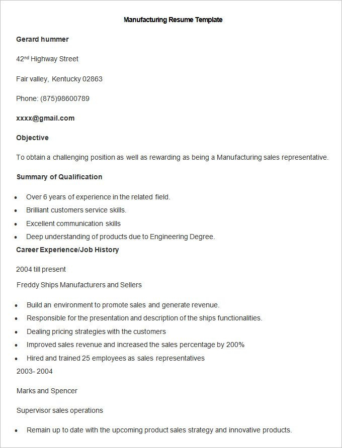Manufacturing 4-Resume Examples Sample resume templates, Resume
