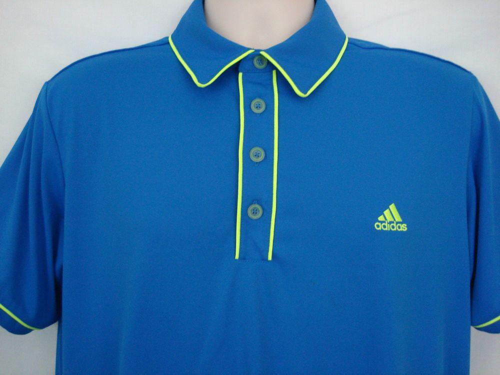 e7b7d6ad ADIDAS Golf Shirt Mens M Blue Neon Yellow Trim Short Sleeve Excellent  #adidas #ShirtsTops