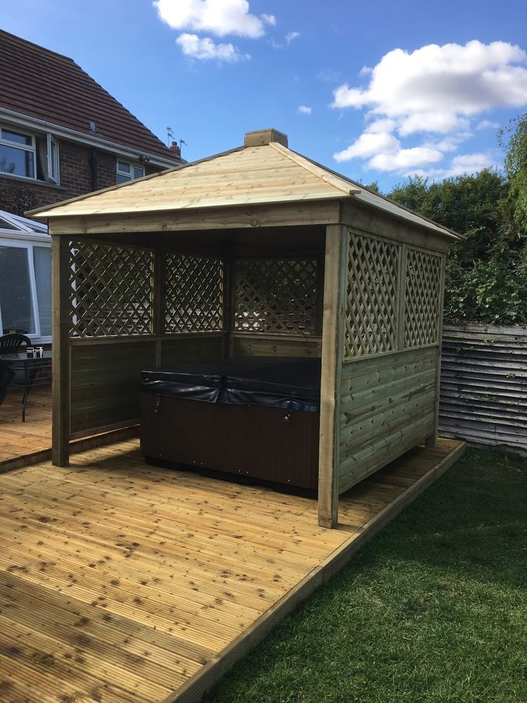 Gazebo Hot Tub Shelter Wooden Seating Area Garden Bar Wood, Private ...