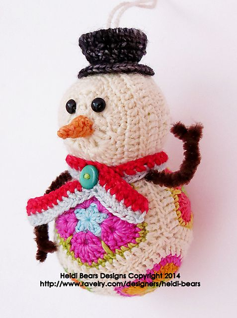 Twig the Snowman African Flower Crochet Pattern pattern by Heidi ...