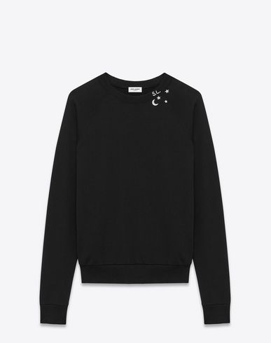 81bfb752 SAINT LAURENT CLASSIC SWEATSHIRT IN BLACK AND OFF WHITE CONSTELLATION  PRINTED FRENCH TERRYCLOTH. #saintlaurent #cloth #