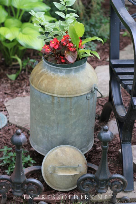 Old galvanized containers make wonderful planters.  Come see the plant lists. #gardening #gardenideas #garden #empressofdirt #gardenblog #containers #planters #flowers #annuals #flowerplanters #plantlist #containerideas #creativegardening #backyardgardening #patiogarden #homegarden #gardentour #floweringannuals #summergardentips #gardenplanters #homemade #garden #planters