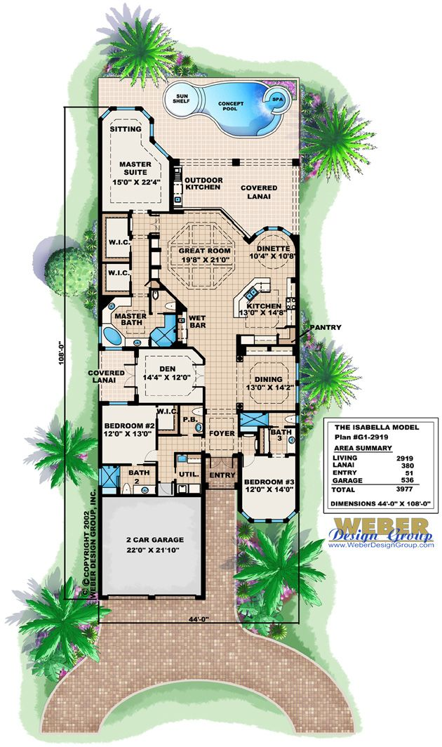 Mediterranean House Plan 1 Story Spanish Waterfront Style Floor