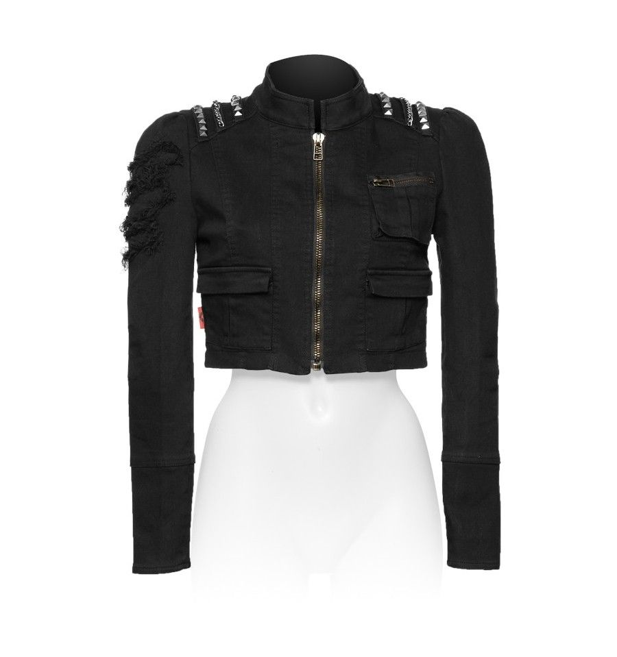 Short gothic womenus jacket with studs gothic darkness and gothic