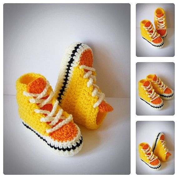 Yellow & Orange Baby Converse Shoes, Crochet Infant Sneakers ...