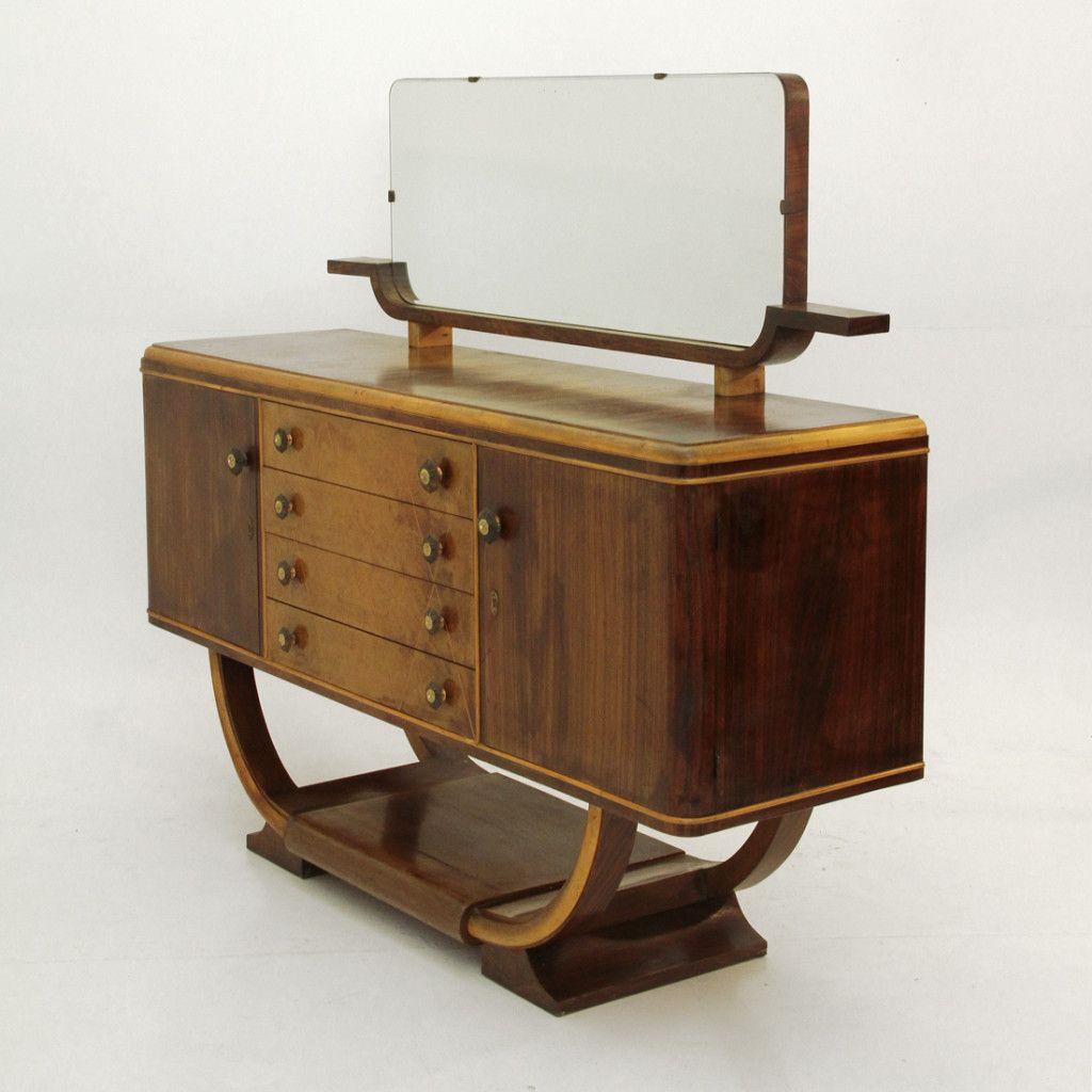Credenza art dec anni 39 40 con specchio sideboard nello for Como con specchio anni 40