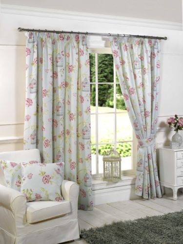 Charlotte Duck Egg Shabby Chic Pencil Pleat Fully Lined Ready Made Curtains