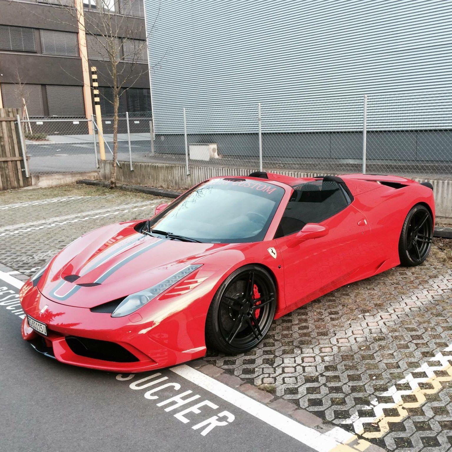 ferrari 458 speciale aperta painted in rosso corsa w/ black