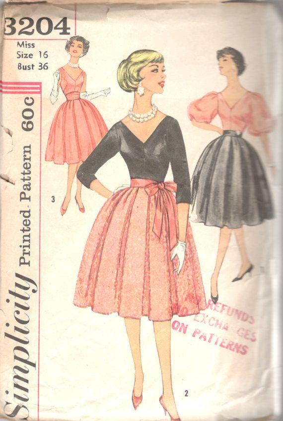 Simplicity 3204 1950s Misses Cocktail V Neck Blouse Soft