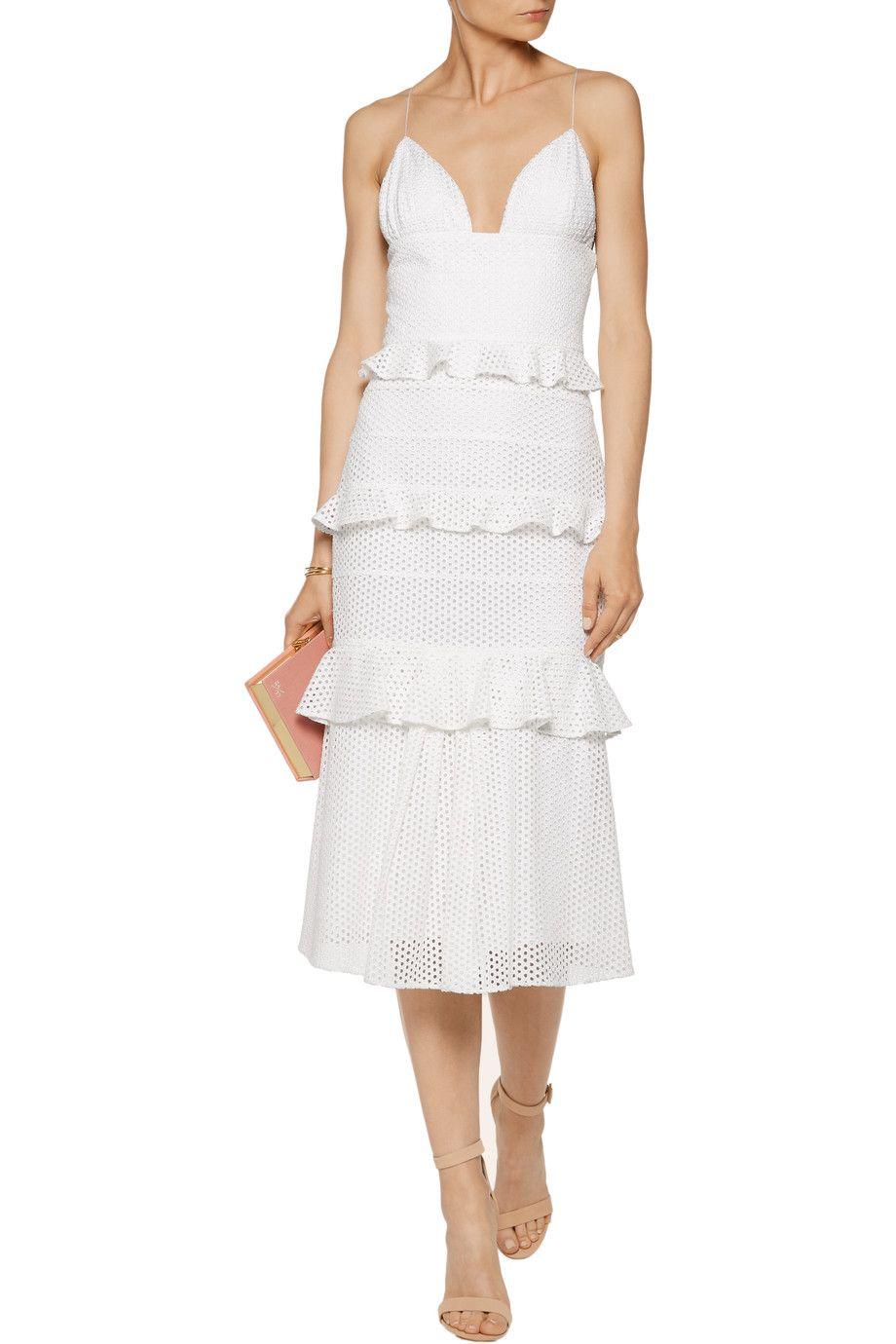 Shop on-sale Cushnie et Ochs Sofia tiered broderie anglaise cotton midi  dress. Browse