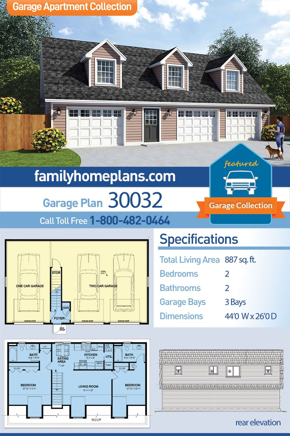 Traditional Style 3 Car Garage Apartment Plan Number 30032 With 2 Bed 2 Bath Above Garage Apartment Garage Apartment Floor Plans Garage Apartment Plan