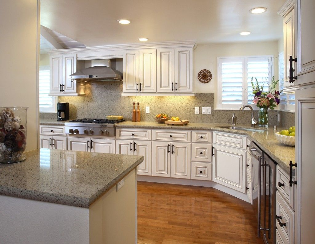 L Shaped French Country Kitchen White Color Scheme ...