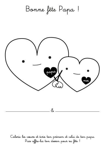 Coloriage A Imprimer Fete Des Peres Avec Petits Coeurs Dessin