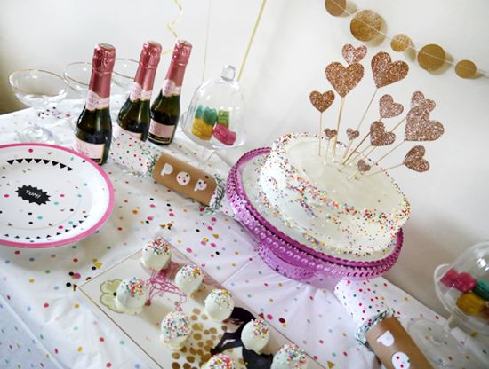 kate spade inspired glitter and confetti birthday party ideas diy heart cake toppers by miss vicky viola and table decorations by ginger ray and meri meri