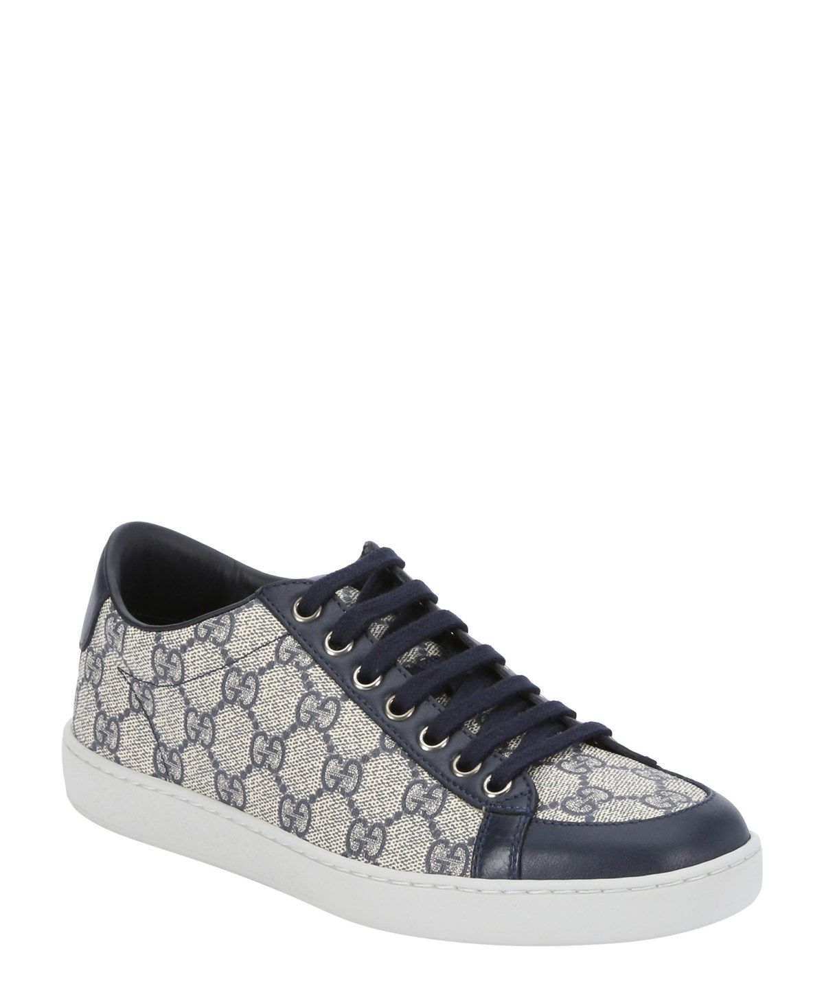 44922661877 GUCCI Beige And Blue Leather Accent Gg Canvas Lace Up Sneakers .  gucci   shoes  sneakers