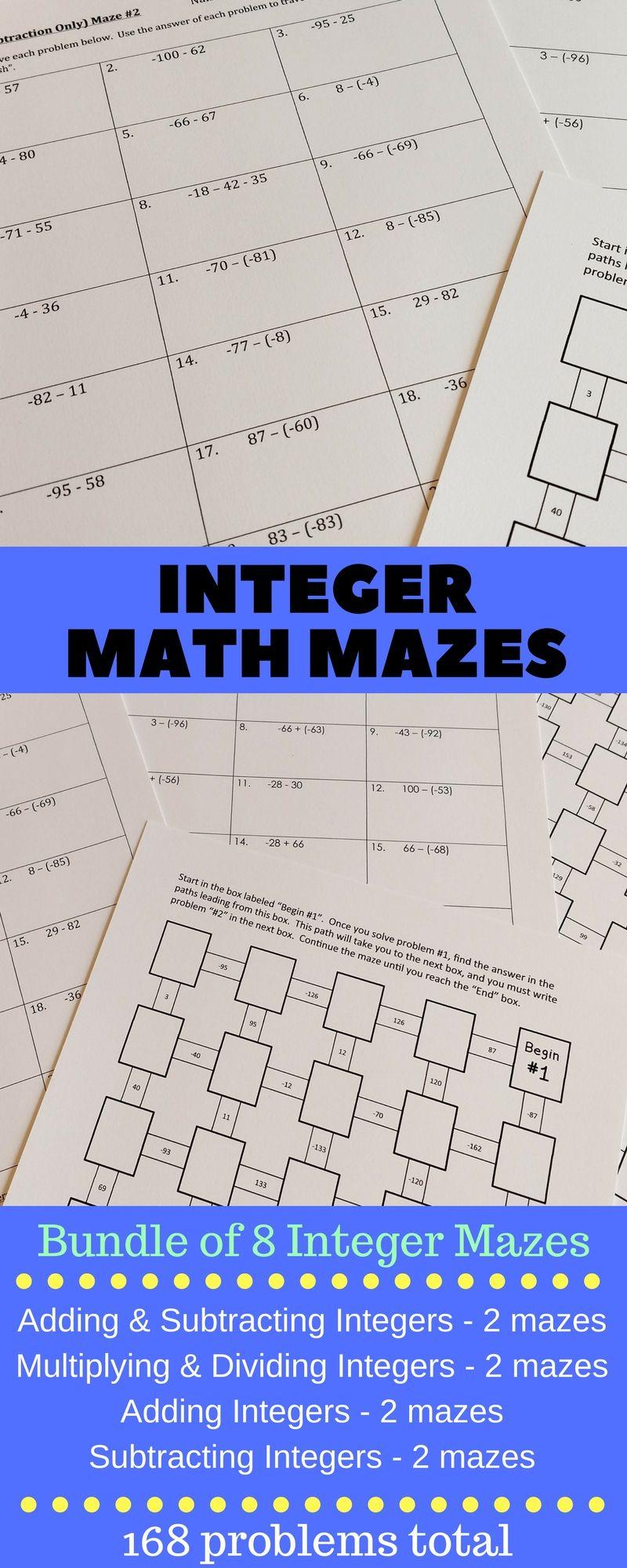 Integers Maze Bundle 8 Math Mazes With A Total Of 168 Integer Problems Mazes For Adding Integers Subtracting Integers Math Integers Integers Education Math Adding integers super teacher
