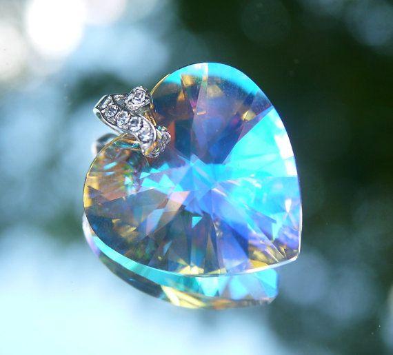 Swarovski Clear AB Crystal Sterling Silver Heart Cubic Zirconia Pendant 28mm