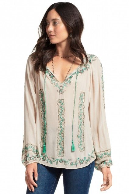 Saveria Hand Embroidered Silk Blouse | Calypso St. Barth