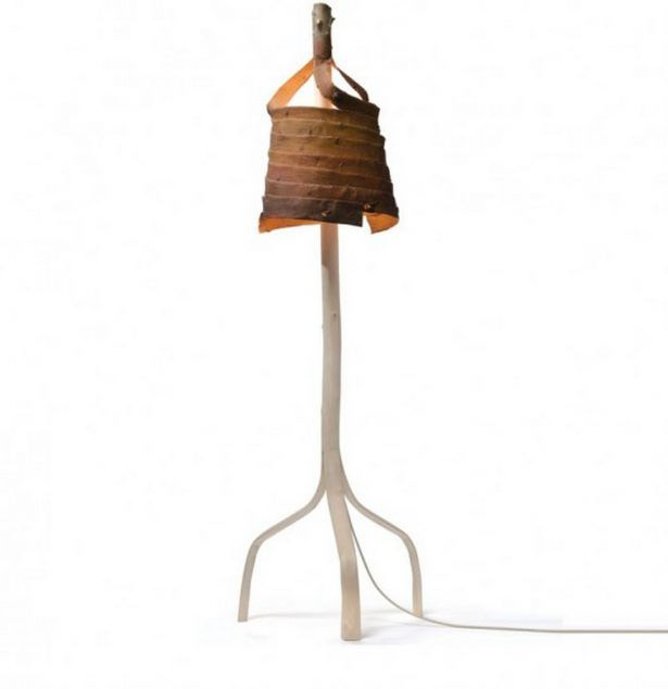 Antique Floor Lamps with Branches, Design Ideas Applied Under Stripped Lamp From Birch
