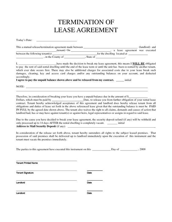 Sample Lease Termination Letter Lease Form Lease Form Sample Leases