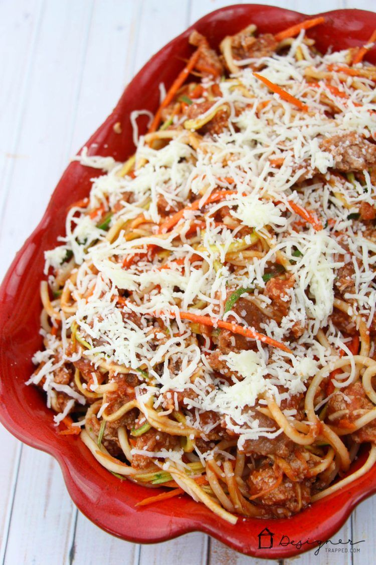 OMG! This easy baked spaghetti recipe is perfect for my family. Love that it has veggies in it and my kids and husband all love it. Win!