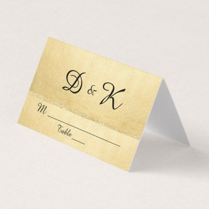 Custom Elegant Monogram Gold Glitter Wedding Place Card - Celebrate it templates place cards