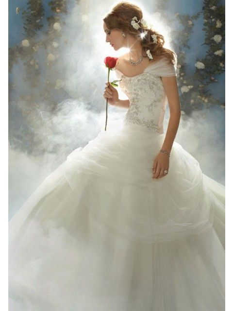 Incredible Embroider Beads Working Tulle Satin Off the Shoulder Wedding Apparels