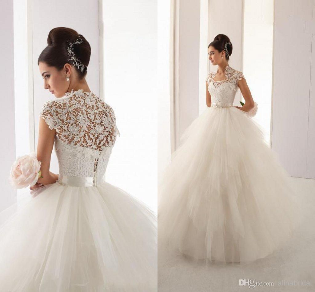 2015 High Collar Lace Bolero Sheer Wedding Dresses Ball Gown Wedding Dresses | Buy Wholesale On Line Direct from China