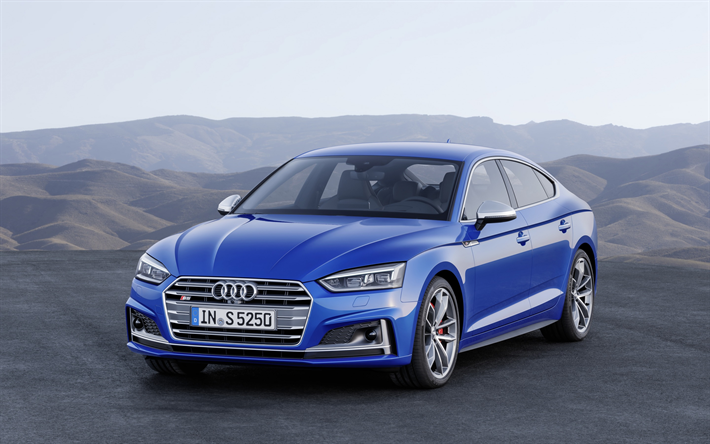 Download Wallpapers Audi S5 Sportback 2018 Blue A5 Sports Sedan German Cars Besthqwallpapers Com Audi S5 Audi S5 Sportback Audi A5