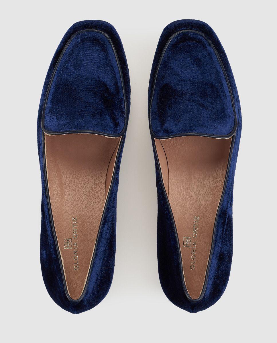 Mocasines de mujer Gloria Ortiz de terciopelo azul