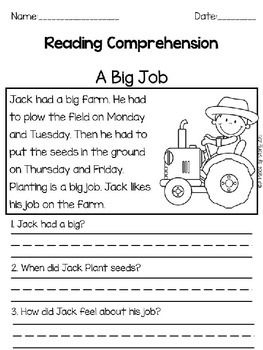 READING COMPREHENSION PASSAGES: FARM THEME - 10 passages with 2 ...